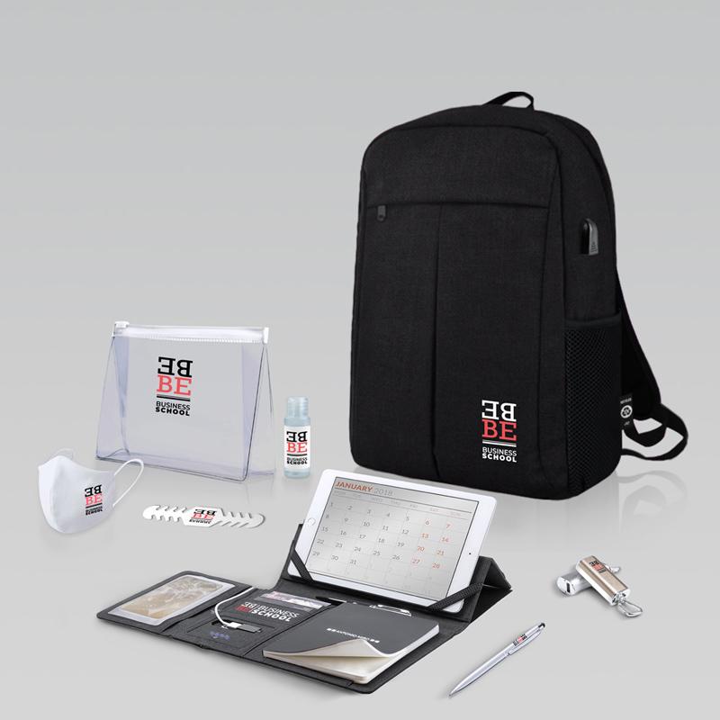 Ejemplo de welcome pack para congresista con kit de protección