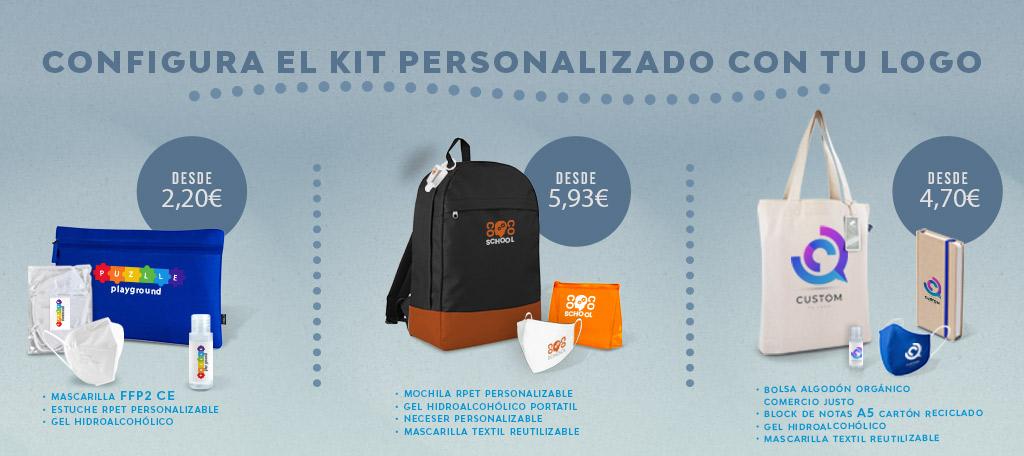 Kits personalizados con el logo de tu empresa.
