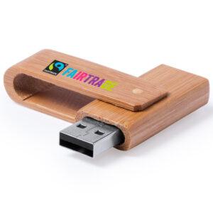 Memoria USB en madera para incluir en tu pack de regalos corporativos originales y ecológicos
